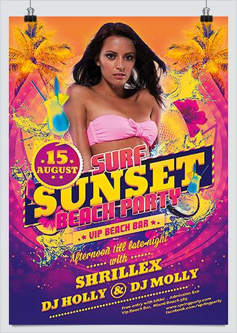 Sunset Beach Party PSD Template
