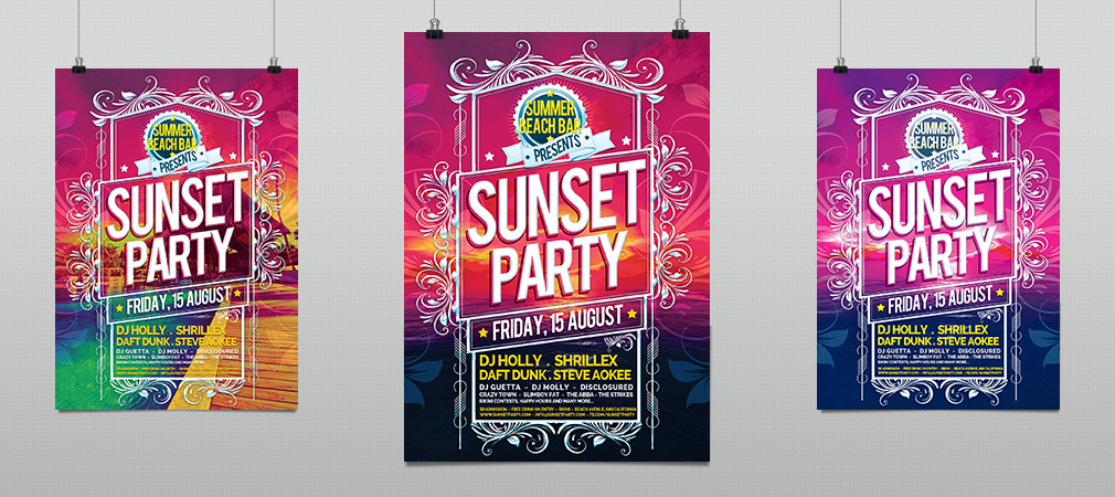 Sunset and Summer Beach Party Flyer