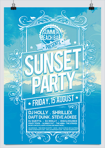 Sunset and Summer Beach Party Photoshop Flyer