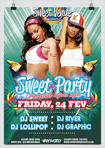 Sweet Dance Party Flyer PSD Template