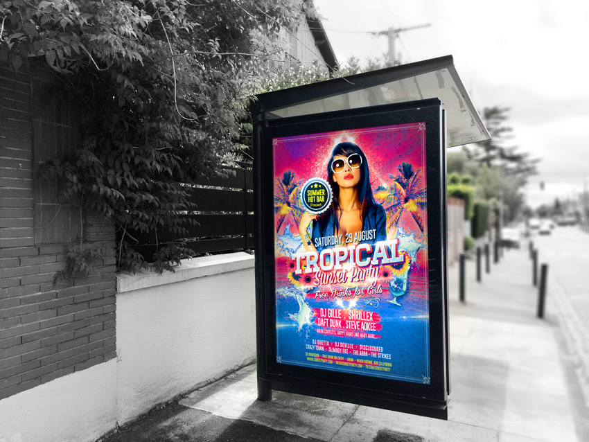Tropical Summer Sunset Party Flyer Print Mockup