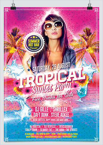 Tropical Summer Sunset Party Flyer Template