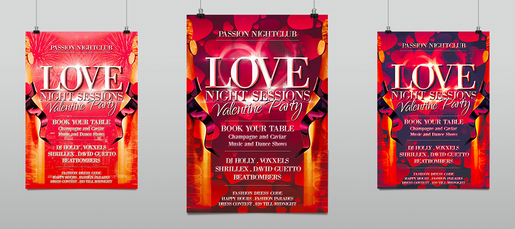 Valentine Love Night Sessions Party Flyer