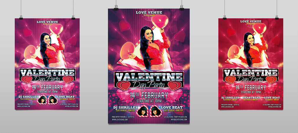 Valentine Love Party Night Flyer Template