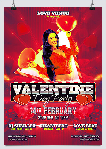Valentine Love Party Night PSD Flyer Template