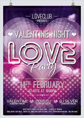 Valentine Night - Love Party Flyer template