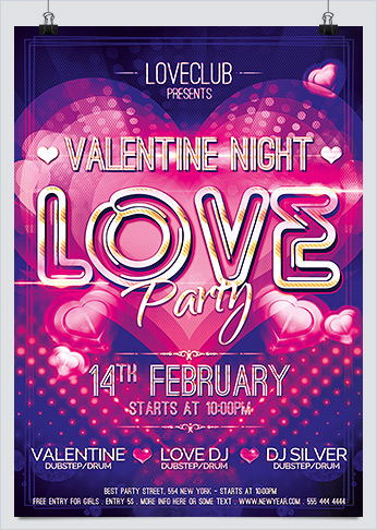 Valentine Night Love Party Flyer PSD template