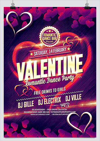 Valentines Day Dance Party Flyer