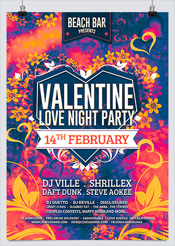 Valentine Love Night Party Flyer
