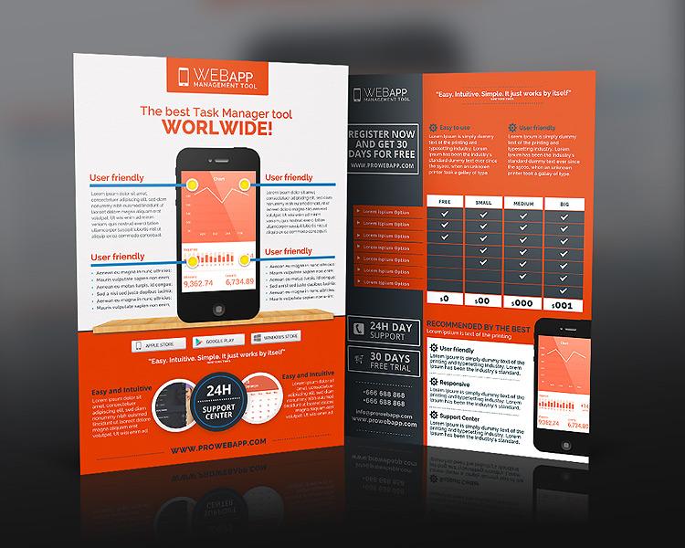 Web App Tech & Hosting Business Flyer Photoshop Template