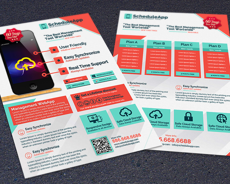 Web App & Technology Business Photoshop Flyer Template