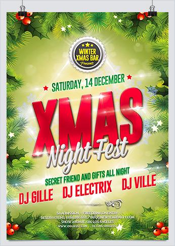 Xmas Night Fest Party Flyer