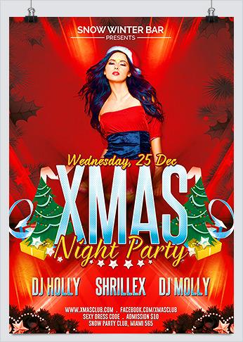 Printable Xmas Sexy Night Party Flyer